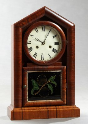 American Mahogany And Faux Bois Steeple Clock, 19th C.,