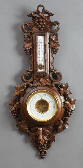 French Carved Oak Aneroid Barometer, 19th C., With