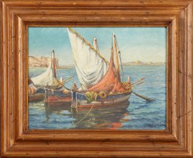 "French School, ""fishing Boats At Anchor,"" 20th C., Oil"