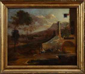 """Continental School, """"figures And Animals By The Ruins,"""""""
