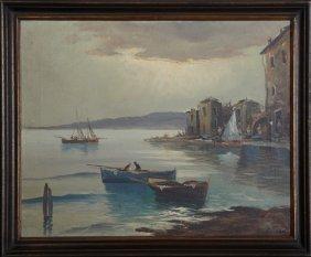 "Luisana, ""harbor Scene,"" Early 20th C., Oil On Canvas,"