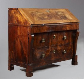 French Louis Philippe Carved Walnut Slant Front Desk,