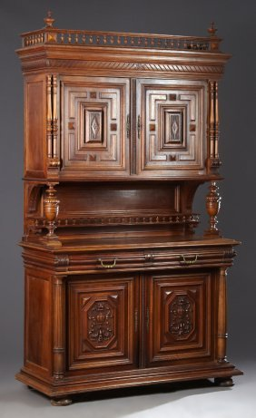 French Henri Ii Style Carved Walnut Buffet A Deux