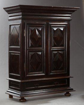French Louis Xiii Style Carved Walnut Armoire, Mid 19th