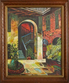 """Abner Rodriguez, """"french Quarter Patio,"""" 20th C., Oil"""