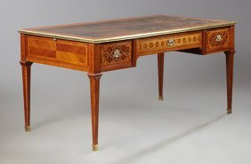French Belle Epoque Brass Mounted Parquetry Inlaid