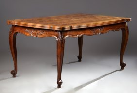 French Louis Xv Style Carved Walnut Draw Leaf Dining