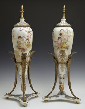 Pair Of Patinated Bronze Mounted Sevres Style Porcelain