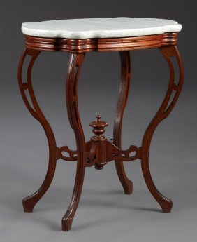 American Victorian Carved Mahogany Marble Top Lamp