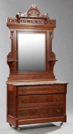 American Eastlake Carved Walnut Marble Top Dresser,