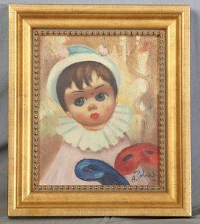 "A. Robert, ""mardi Gras Clown,"" 20th C., Oil On Canvas,"