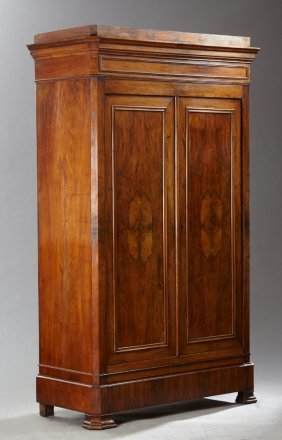 French Louis Philippe Carved Walnut Armoire, 19th C.,