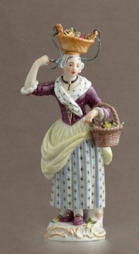 Meissen Porcelain Figure, 20th C., Of A Female Flower