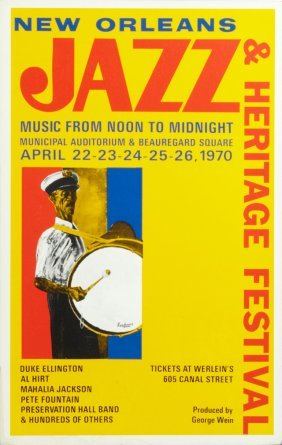 Pair Of Jazz And Heritage Festival Posters, 1970, From