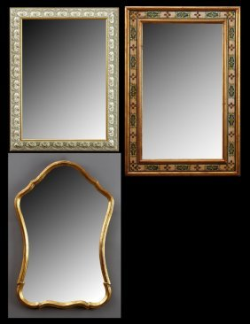Three Contemporary French Parcel Gilt Mirrors, 20th C.,