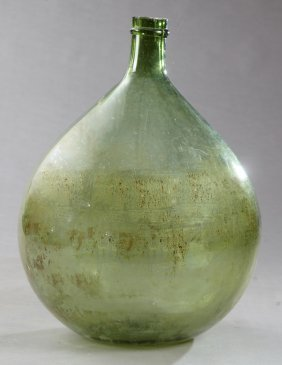 Large Mold Blown Green Glass Carboy, 19th C., H.- 25