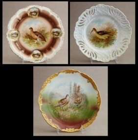 Group Of Three German Porcelain Game Cabinet Plates, C.