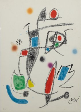 "Joan Miro (1893-1983), ""composition,"" Lithograph On"