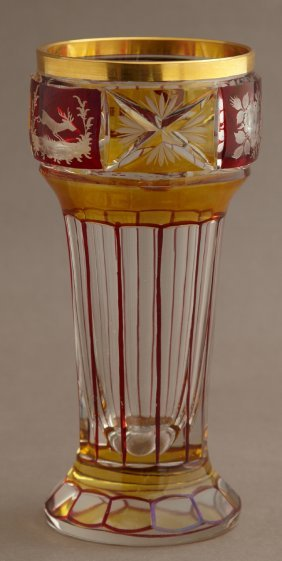 Red Cut To Clear Cylindrical Bohemian Vase, 19th C., Of