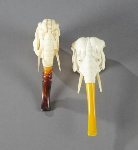 Two Carved Meerschaum Elephant Pipes, 20th C., With