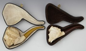 Two Carved Meerschaum Pipes, Early 20th C., Of A