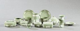 Group Of Fifteen Pieces Of Wedgwood Green Jasperware,