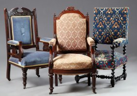 Three French Fauteuils, Late 19th C., Consisting Of A