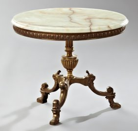 French Louis Xv Style Gilt Bronze Onyx End Table, Mid