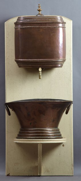 French Provincial Copper Lavabo, 19th C., With A Brass