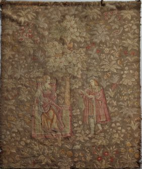 French Tapestry, 19th C., Of Lovers Spinning In A