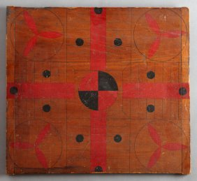 Carved And Polychromed Mahogany Parcheesi Game Board,