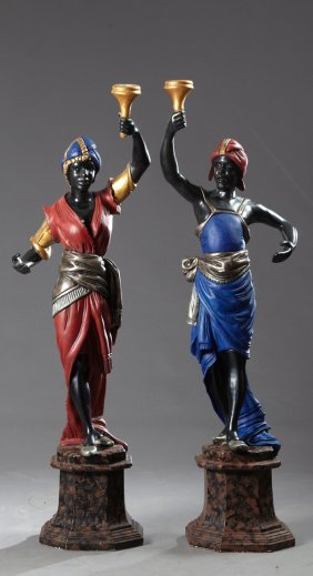 Pair Of Parcel Gilt Polychromed Carved Wood Blackamoor