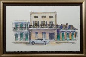 """J. Ortega, """"french Quarter Street Scene,"""" 1996,"""