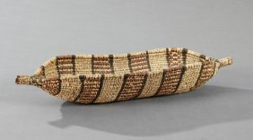 Native American Woven Rattan Navette Form Basket, 20th