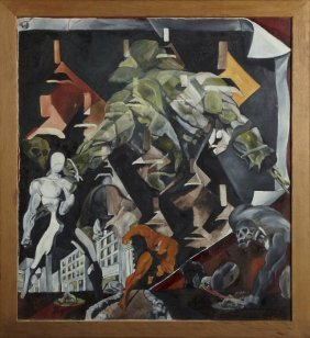 """Buist Hardison, """"abstract With Figures,"""" 20th C., Oil"""
