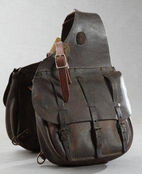 Pair Of Us Army Cavalry Leather Saddle Bags, 19th C.,