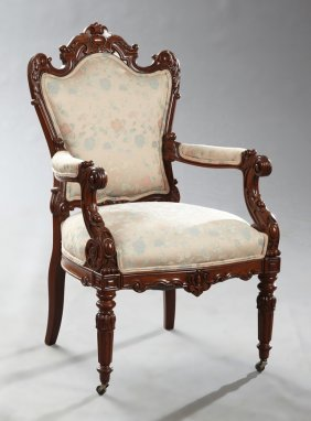 Louis Xvi Style Carved Walnut Fauteuil, Late 19th C.,