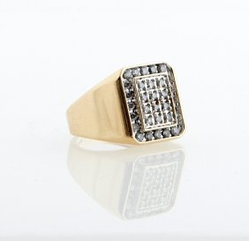 Man's 10k Yellow Gold Dinner Ring, The Octagonal Top
