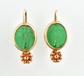 Pair Of Italian 14k Yellow Gold Earrings, Each With An