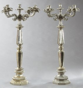 Pair Of Large Silverplated Five Light Candelabra, 20th