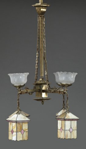 Arts And Crafts Brass Four Light Gasolier, C. 1900,