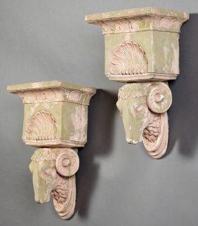 Pair Of Ram's Head Cast Stone Garden Brackets, 20th C.,