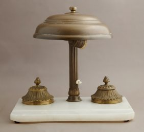 Arts And Crafts Alabaster And Brass Inkwell Set, C.