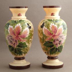 Pair Of English Bristol Glass Baluster Vases, 19th C.,