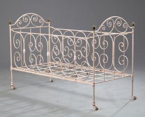 French Victorian Wrought Iron And Brass Child's Bed,