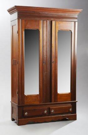 American Carved Walnut Double Door Armoire, C. 1900,