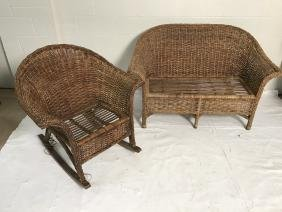 Wicker Loveseat And Rocking Chair