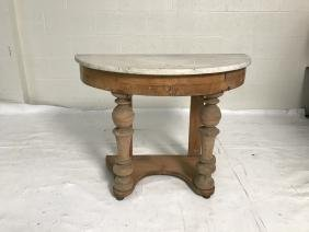 Antique pine console with marble top