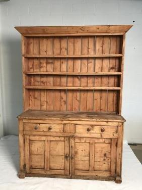 Antique pine kitchen hutch