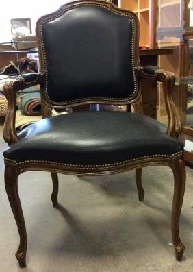 French Bergere Leather Carved Wood Reception Chair